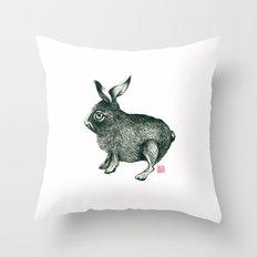 Cold Rabbit Throw Pillow