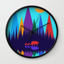 Bear & Cubs #3 Wall Clock