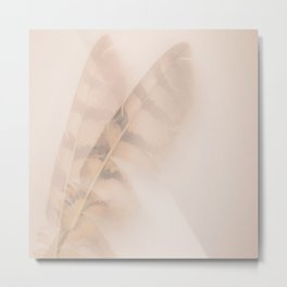 Two feathers on a soft pastel background - beautiful couple Metal Print
