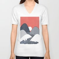 sun V-neck T-shirts featuring Midnight Sun by David Fleck