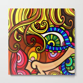 Abstract Doodle Face Metal Print