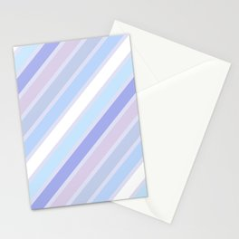Retro Diagonal Stripes in Pastel Periwinkle Stationery Cards