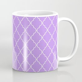 Moroccan Trellis, Latticework - Purple White Coffee Mug