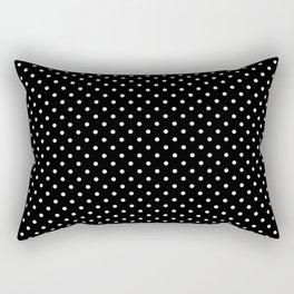 Mini Licorice Black with White Polka Dots Rectangular Pillow