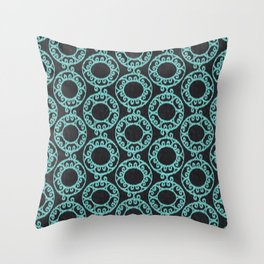 Scrolled Ringed Ikat - Caviar Aruba Blue Throw Pillow