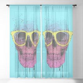 Pop art skull with glasses Sheer Curtain