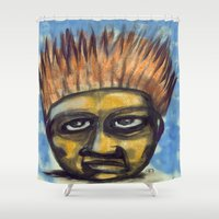 ali gulec Shower Curtains featuring Surf's Up ~ Indonesia Art by Ali by FiVe