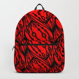 Black volumetric molecular helix with diagonal convex circles on a red background. Backpack
