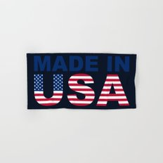 Made in USA text with USA flag Hand & Bath Towel
