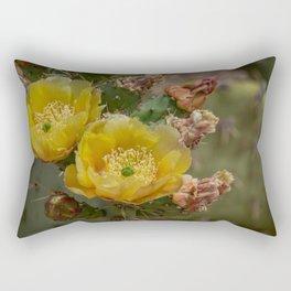 Yellow Cacti Blossoms Rectangular Pillow