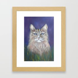CUTE YOUNG TABBY CAT GREY BEIGE CHALK PASTEL DRAWING Framed Art Print