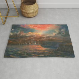 Hawaiian Volcanic Eruption by the Sea at Night landscape painting by Charles Furneaux Rug