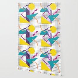 Memphis Pattern - 80s Retro White Wallpaper