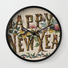 Vintage Happy New Year Illustration (1876) Wall Clock
