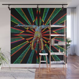3709s-DEW Abstract Pop Art Feminine Power Yoga Headstand Split Zebra Nude Wall Mural
