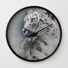 Snow Leopard profile Wall Clock