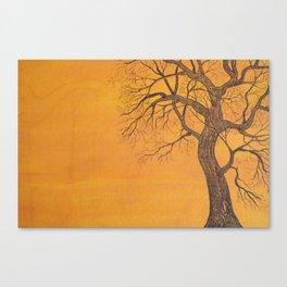 Skeleton Tree on Orange Canvas Print