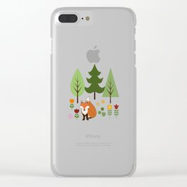 Scandinavian Fox Flowers Trees Illustration Clear iPhone Case