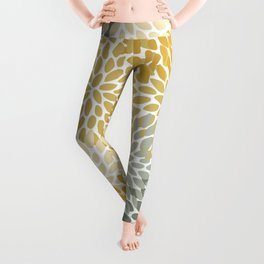Autumn Flowers, Yellow and Gray, Floral Prints Leggings