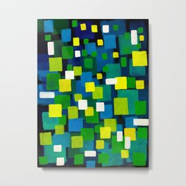 "Original Abstract Acrylic Painting by  ""City Lights"" Colorful Geometric Square Pattern Gre Metal Print"
