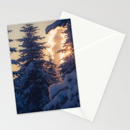 Midday sun on snow covered winter spruce trees Stationery Cards