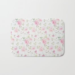 Elegant blush pink white vintage rose floral Bath Mat