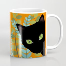 Black Kitty Cat In The Garden Coffee Mug