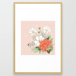 Cosmos and Dahlia on Pink Framed Art Print