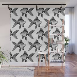 Black Goldfish Pattern Wall Mural