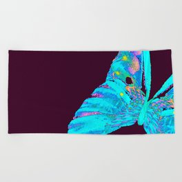 Turquoise Butterfly On A Dark Background #decor #buyart #society6 Beach Towel
