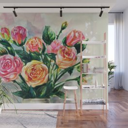 Flower, Decorative, painting , Wall decor Art, Illustration, water colour Wall Mural