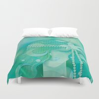 mermaid Duvet Covers featuring Ocean Queen by Graphic Tabby