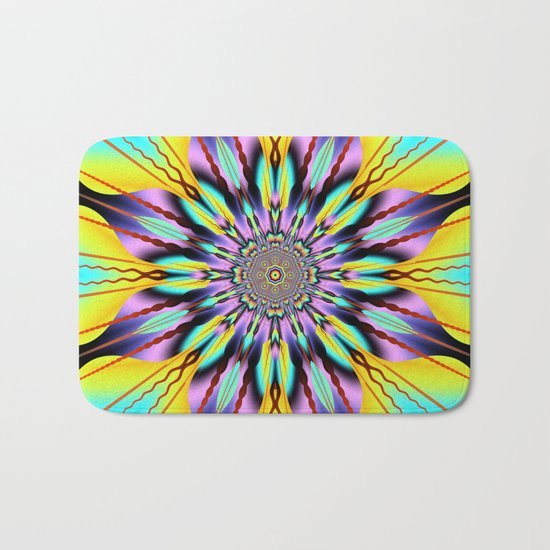 Fantasy sunflower with wavy rays and patterns Bath Mat