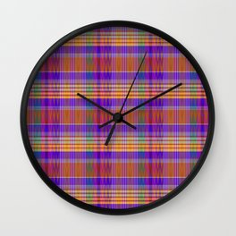 ginger IKAT madras Wall Clock