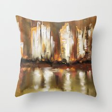 Brown City Throw Pillow