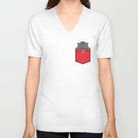 pocket V-neck T-shirts featuring Pocket Rhino by Steven Toang