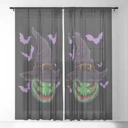 Halloween Watermelon Witch - Halloween Party Sheer Curtain
