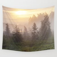 sunrise Wall Tapestries featuring sunrise by Bonnie Jakobsen-Martin