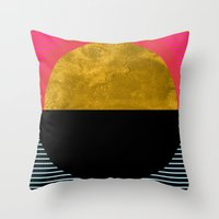 georgiana paraschiv Throw Pillows featuring Abstract Sunset by Georgiana Paraschiv