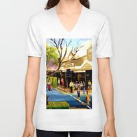 cafe V-neck T-shirts featuring Sidewalk Cafe by Helen Syron