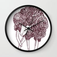 sheep Wall Clocks featuring Sheep by Monique Turchan