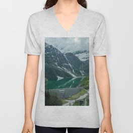 italy alps mountain snow camping vanlife village drone aerial roadtrip lake water Unisex V-Neck