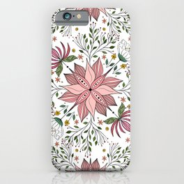Cute Vintage Pink Floral Doodles Tile Art iPhone Case