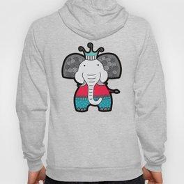 Doodle Elephant on Blue Background Hoody