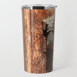 Antique wooden door with hand knockers Travel Mug