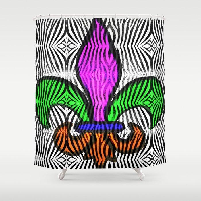 Fleur De Lis Zebra Print Shower Curtain