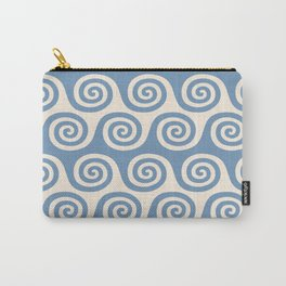 Mid Century Modern Wave Blue & Beige Carry-All Pouch