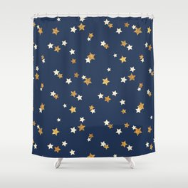 Navy blue faux gold glitter elegant starry pattern Shower Curtain