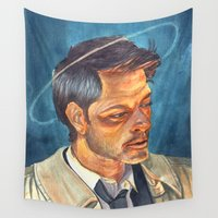 castiel Wall Tapestries featuring Castiel  by Lydia Joy Palmer