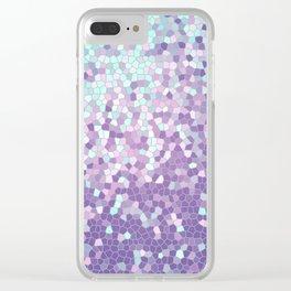 Aqua and Violet Purple Mosaic Clear iPhone Case